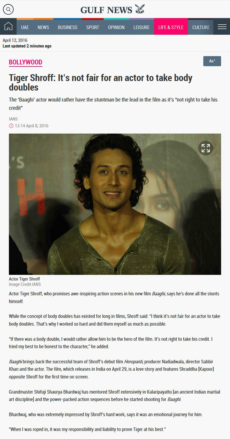 Tiger Shroff: Its not fair for an actor to take body doubles