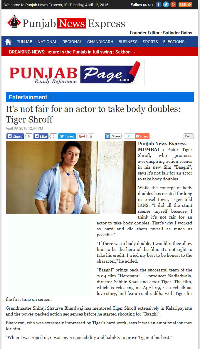 Its not fair for an actor to take body doubles: Tiger Shroff