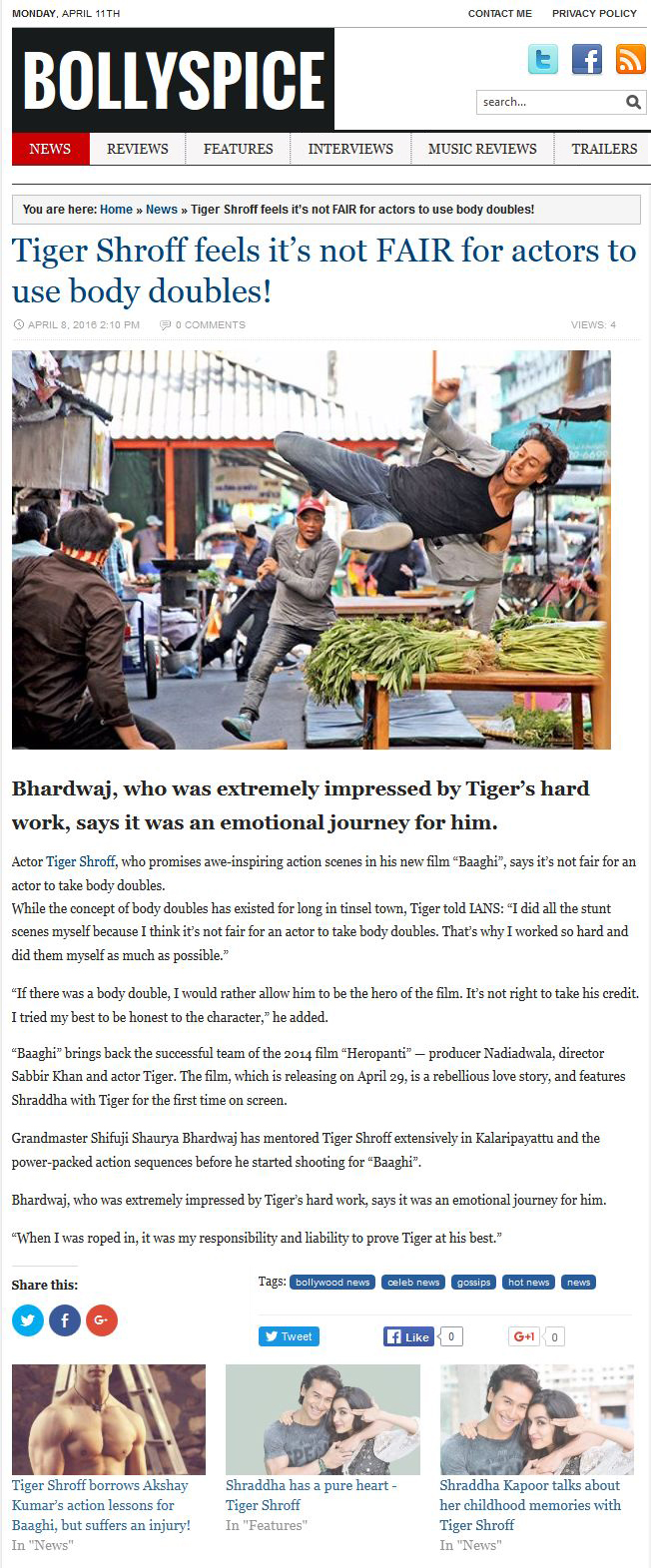 Tiger Shroff feels its not FAIR for actors to use body doubles!