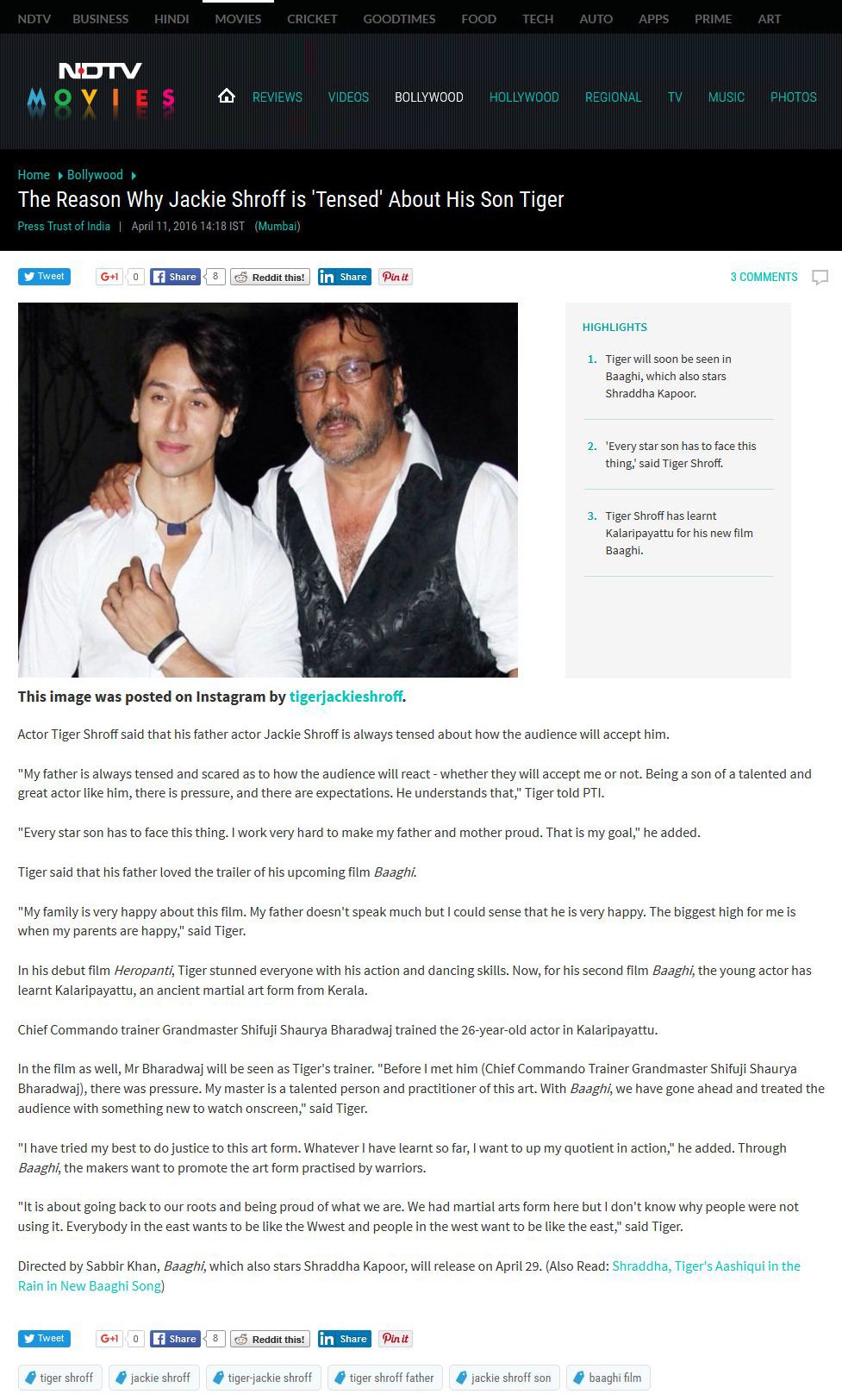 The Reason Why Jackie Shroff is Tensed About His Son Tiger