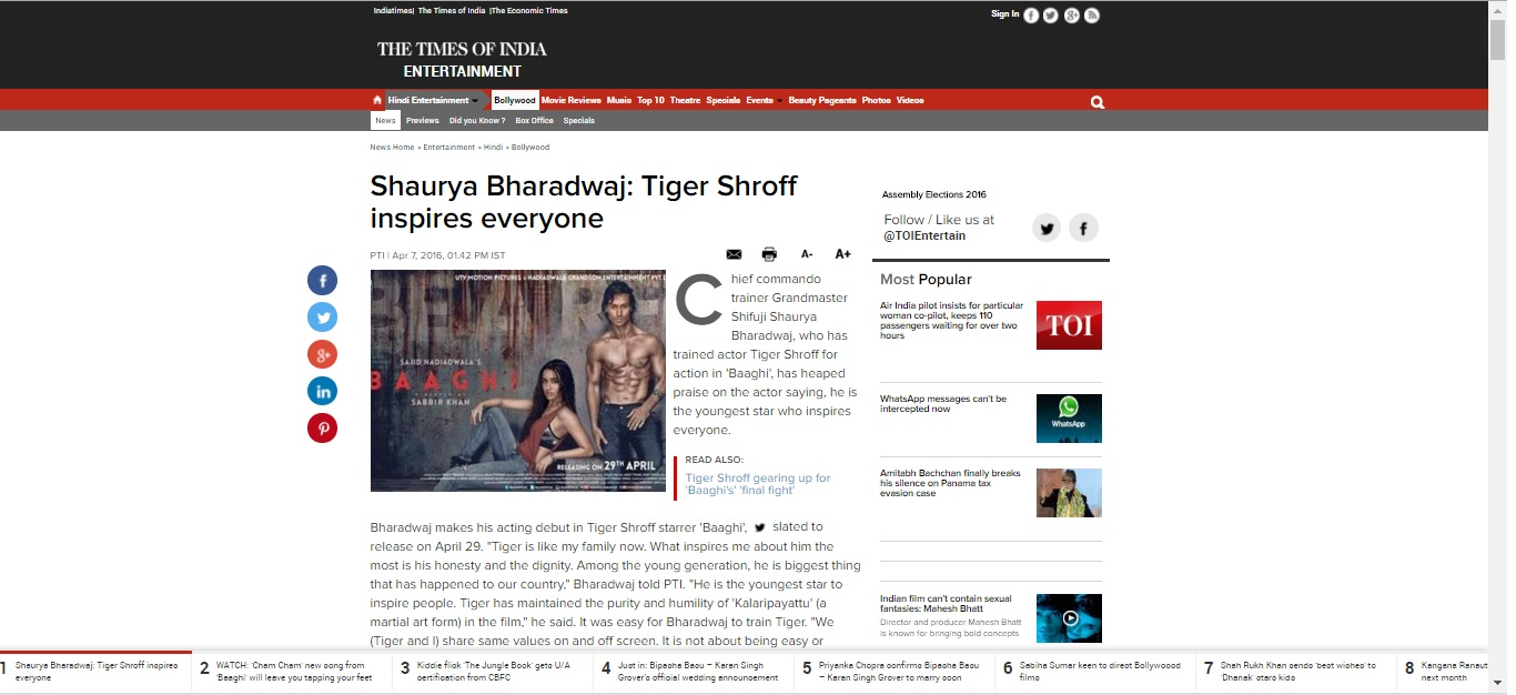 Shaurya Bharadwaj: Tiger Shroff inspires everyone in Time of India