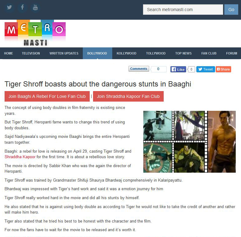 Tiger Shroff boasts about the dangerous stunts in Baaghi