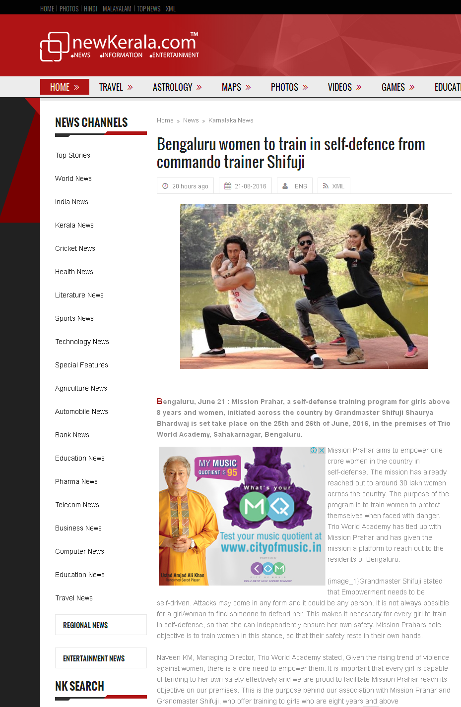 Bengaluru women to train in self-defence from commando trainer Shifuji