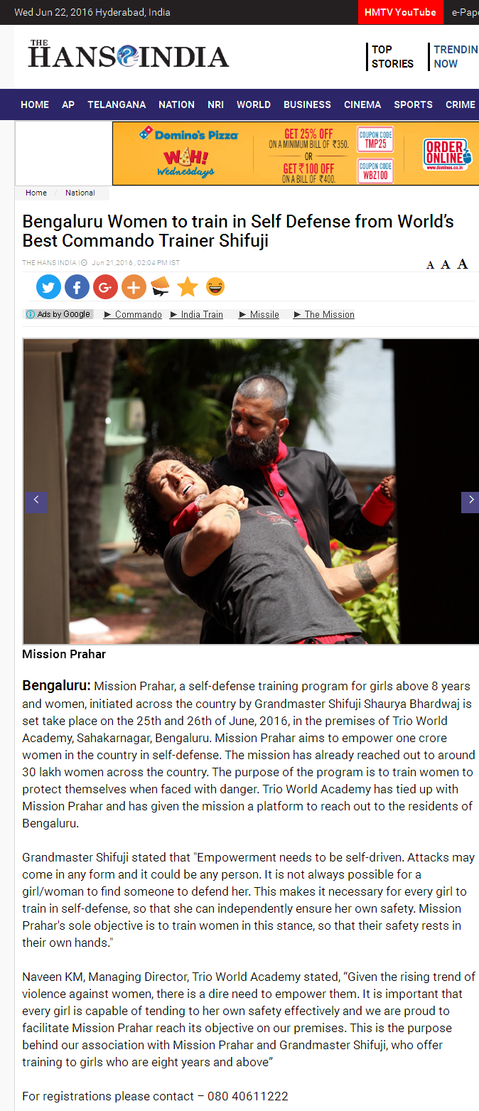 Bengaluru Women to train in Self Defense from Worlds Best Commando Trainer Shifuji