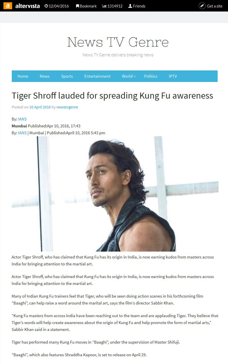 Tiger Shroff lauded for spreading Kung Fu awareness