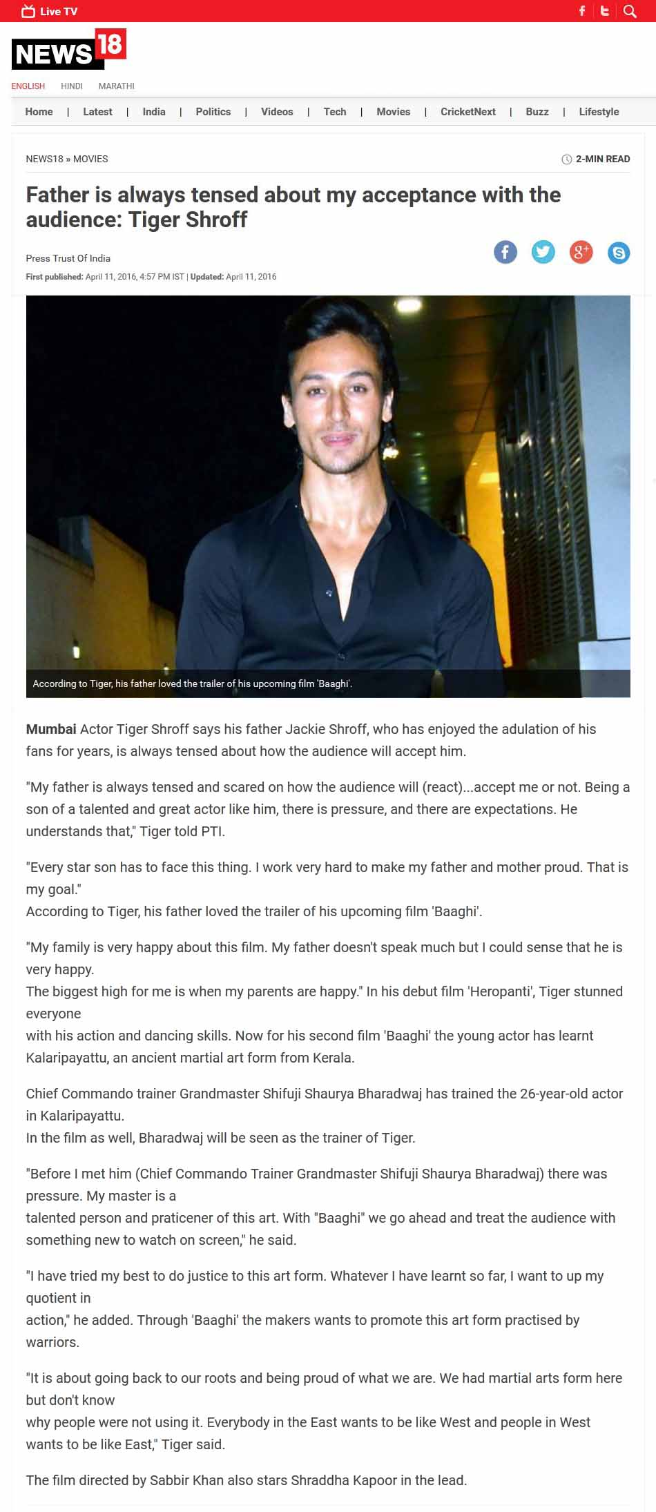 Father is always tensed about my acceptance with the audience: Tiger Shroff