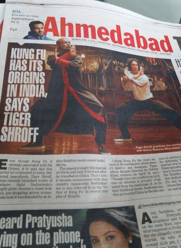 Kung Fu Has Its Origins In India, Says Tiger Shroff in Ahmedabad Times Newspaper
