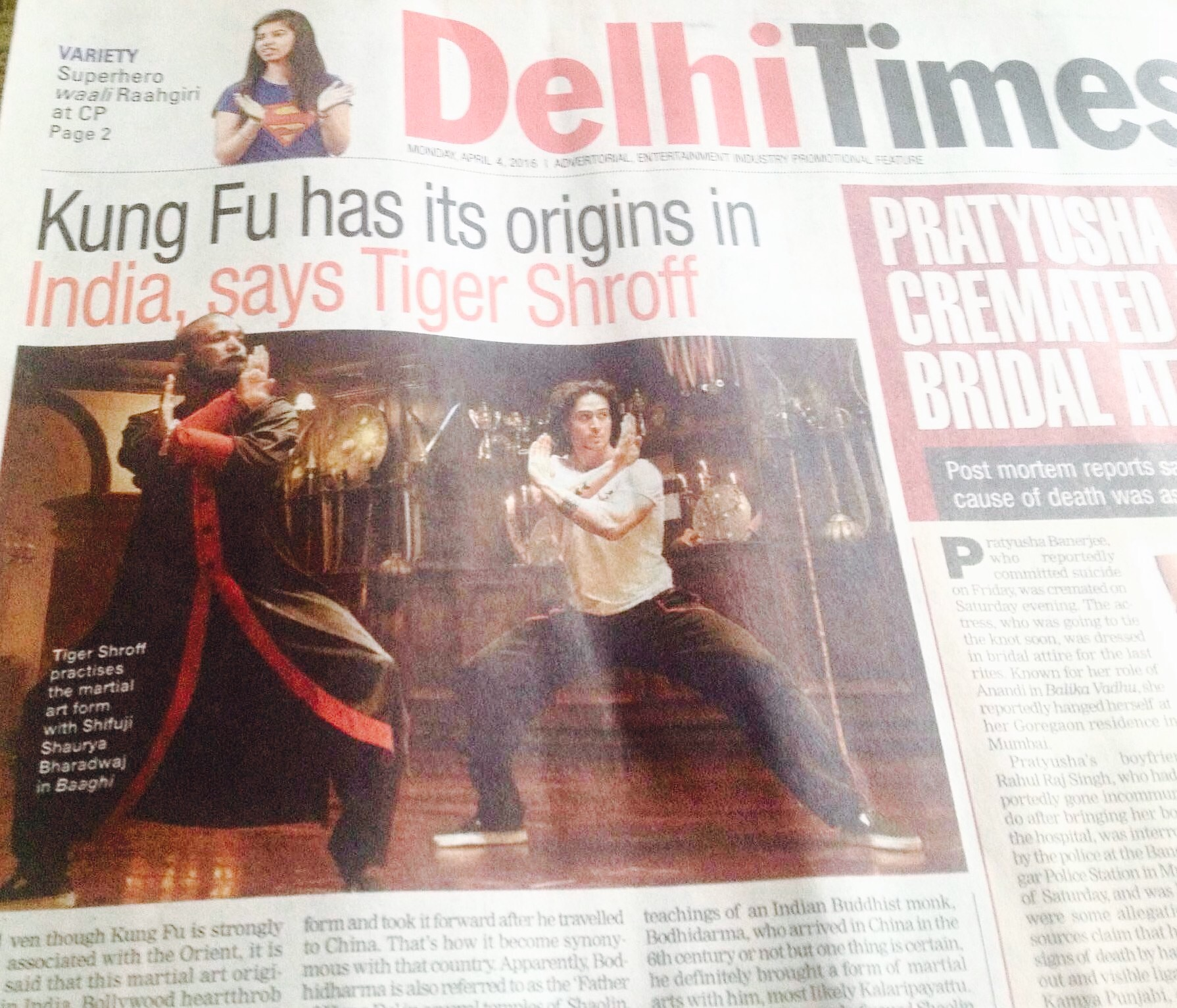 Kung Fu has its origins in India, Says Tiger Shroff