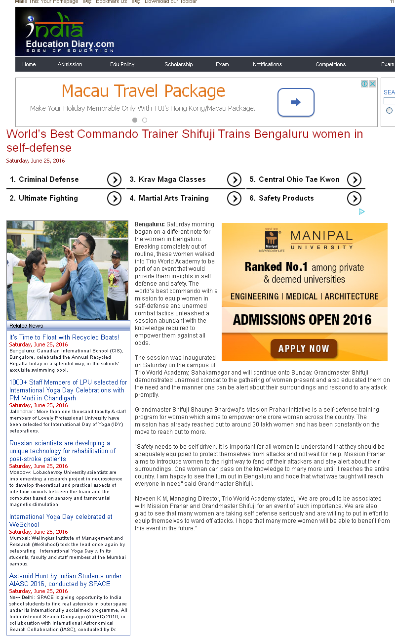 Worlds Best Commando Trainer Shifuji Trains Bengaluru women in self-defense