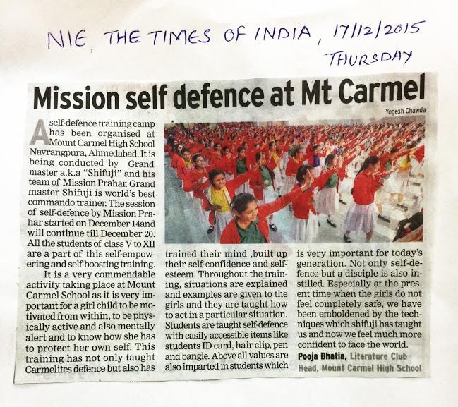 SELF DEFENCE TRAINING CAMP AT AHMEDABAD IN THE TIME OF INDIA NEWSPAPPER